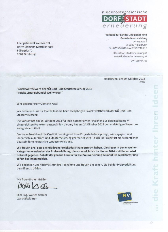 Antwort der NÖ Dorf- und Stadterneuerung auf unsere Bewerbung zum Projektwettbewerb 2013